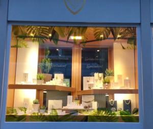 Schaufenster greenery grün Dekoration Schmuck Steinfurt